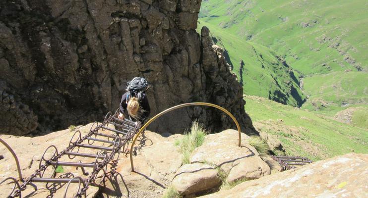 JJa14-sunway-safari-south-africa-drakensberg-ampihitheatre-chain-ladder-climb-hike