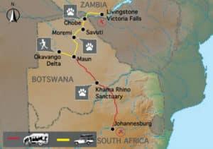 Sunway Safaris Botswana Wildside Tour Map