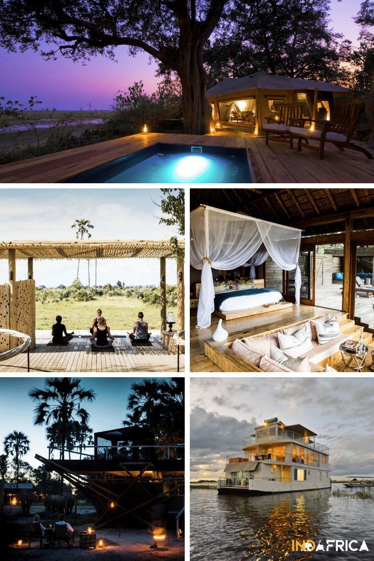 Botswana Safari Costs: Examples of Ultimate Luxury Botswana Lodges: Zarafa Camp, Mombo Camp, Vumbura Camp, Abu Camp.  We sometimes combine these top camps with a stay on the Chobe Princess Houseboat.